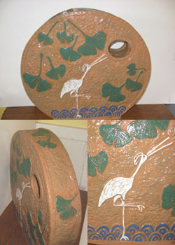 Art Deco Gingko & Crane Vase