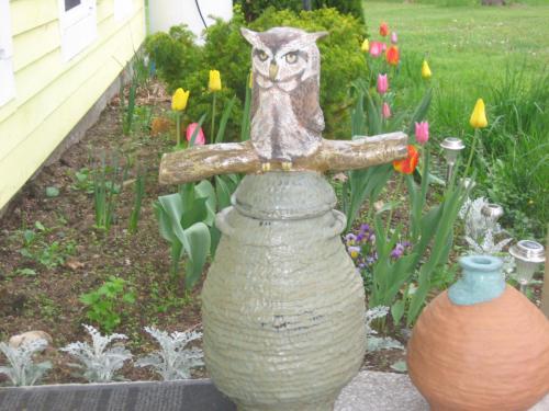 Garden Jar with Owl Lid