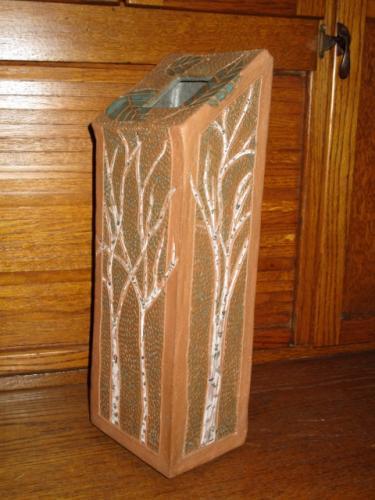 Birches and poem Vase